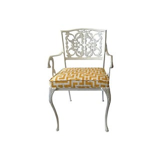 Wrought Iron Arm Chair With Greek Key Textile For Sale
