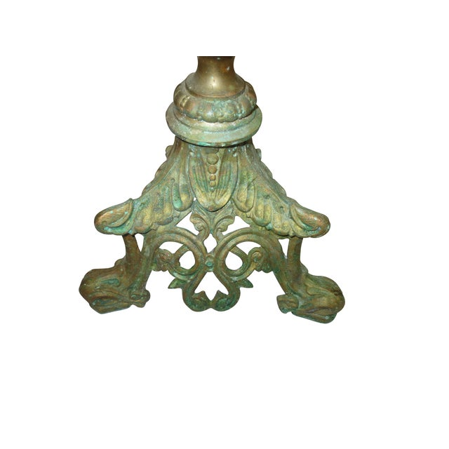 Tall Brass Floral Candleholder - Image 3 of 8