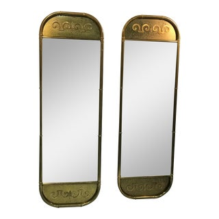 Pair of Exceptional Brass Mirrors by Mastercraft