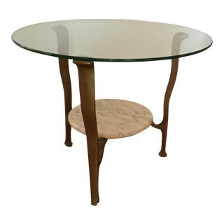 Mid-Century Italian Bronze and Marble Table For Sale
