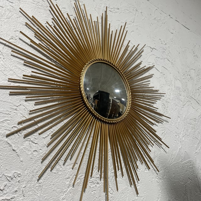 Mid-Century Chaty Vallauris-Style Gilt Metal Sunburst Wall Mirror For Sale In West Palm - Image 6 of 9