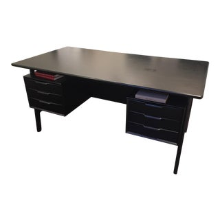 Mid -Century Modern Black Wood Desk For Sale