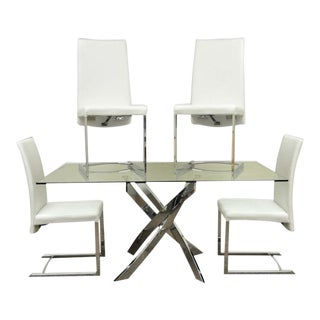Modern Chrome X Base Glass Dining Table With Chairs - Set of 5