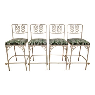 Restored Vintage Wrought Iron Bar Stools - Set of 4 For Sale