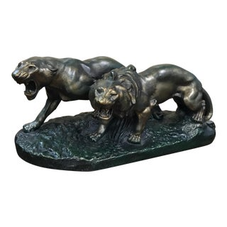 """Huge French Art Deco Terra Cotta Group Of """"Panther Sculpture On Rock"""" Circa 1930s."""