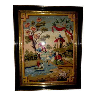 Antique French Chinoiserie Needlepoint Tapestry-18th Century For Sale