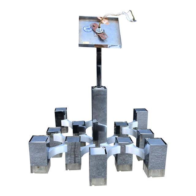 Modern 1970s Gaetano Sciolari Cubic Chandelier for Lightolier For Sale - Image 3 of 7