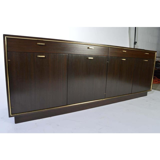 Metal Harvey Probber Credenza in Dark Mahogany Having Brass Embellishments Throughout For Sale - Image 7 of 8