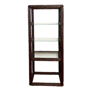 Vintage Boho Chic Twisted Rattan Etagere For Sale