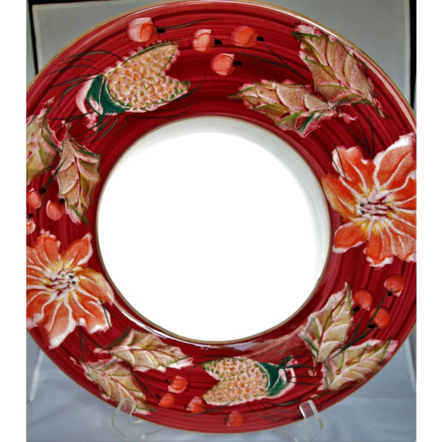 Rustic Floral Punch Bowl & Platter Made in Italy - a Pair For Sale - Image 3 of 12