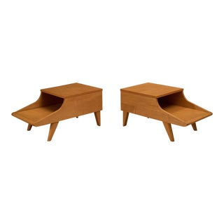 Pair of Mid-Century Brown Saltman End Tables by John Keal For Sale
