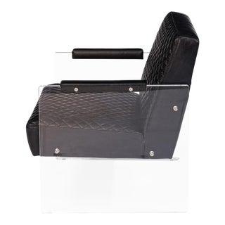 Modern Acrylic Black Leather Armchair