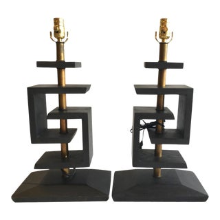 James Mont Mid-Century Modern Geometric Lamps - A Pair