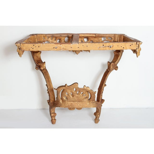 Gold Louis XV French Console Table With Marble Top For Sale - Image 8 of 13