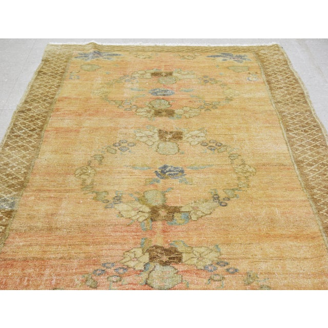 Vintage Turkish Oushak hand knotted rug with natural colors and unique pattern.
