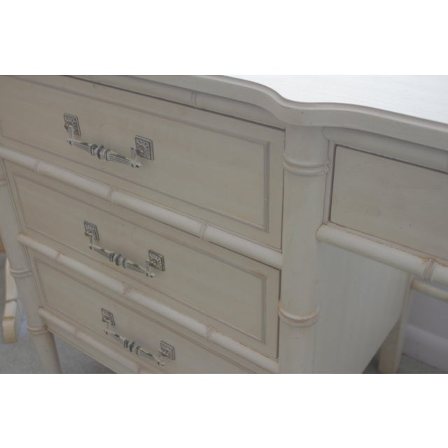 Asian 1970's Chinoiserie Henry Link Faux Bamboo Writing Desk For Sale - Image 3 of 7