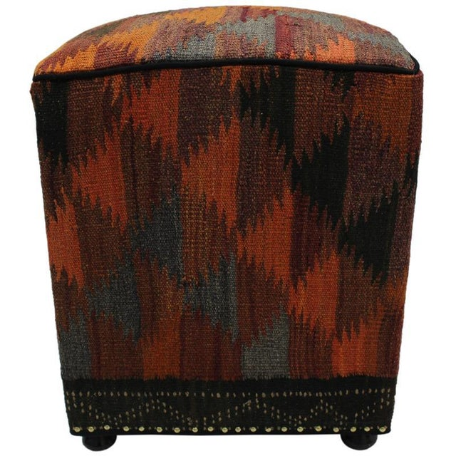 Boho Chic Camp Orange/Rust Handmade Kilim Upholstered Ottoman For Sale - Image 4 of 8