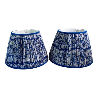 Shirred Blue & White Lamp Shades - a Pair For Sale