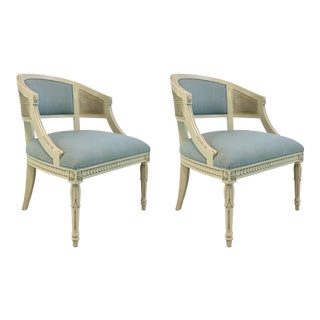 Hickory Chair Transitional Le Clerc Ivory Cane Chairs Pair For Sale