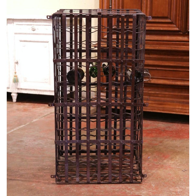 19th Century French Iron Hundred-Bottle Wine Rack Cabinet From Burgundy For Sale In Dallas - Image 6 of 9