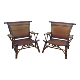 Asian Style Mandalay Rattan Club Chairs by Marge Carson With Rawhide Accent Bindings and Metal Accent Caps - a Pair For Sale
