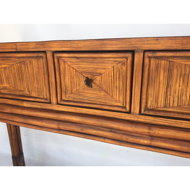 Ethan Allen Ethan Allen Burnt Bamboo Rattan 3 Drawer Console Table For Sale - Image 4 of 7