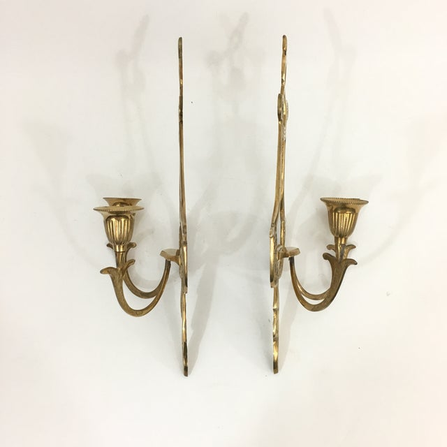 1960s Brass Neoclassical Double Candlestick Sconces - a Pair For Sale - Image 5 of 7