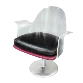 1970s Art Deco Vladimir Kagan Invisible Swivel Arm Chair