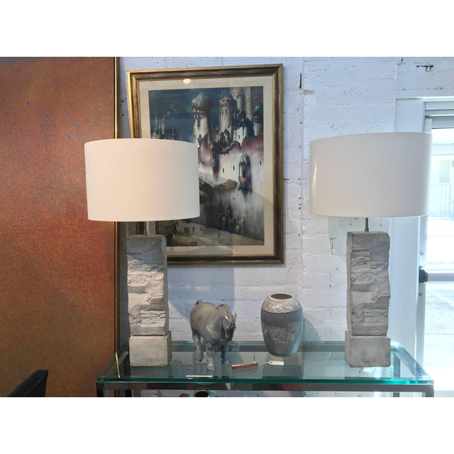 Cast Stoneware Rock Shaped Lamps Marked AP - a Pair For Sale - Image 4 of 11