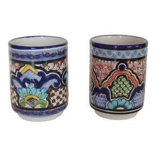 Pair of Hand Painted Blue and Green Ceramic Cups For Sale