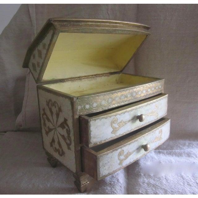 Gesso Vintage Florentine Miniature Storage Chest For Sale - Image 7 of 9
