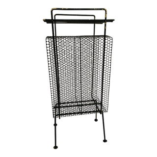 Mid-Century Modern Perforated Atomic Metal Magazine Holder/Side Table For Sale