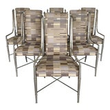 Image of 1960s Vintage Nickel Faux Bamboo Mastercraft Dining Chairs-Set of 6 For Sale