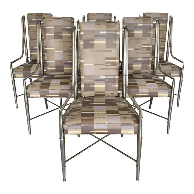 1960s Vintage Nickel Faux Bamboo Mastercraft Dining Chairs-Set of 6