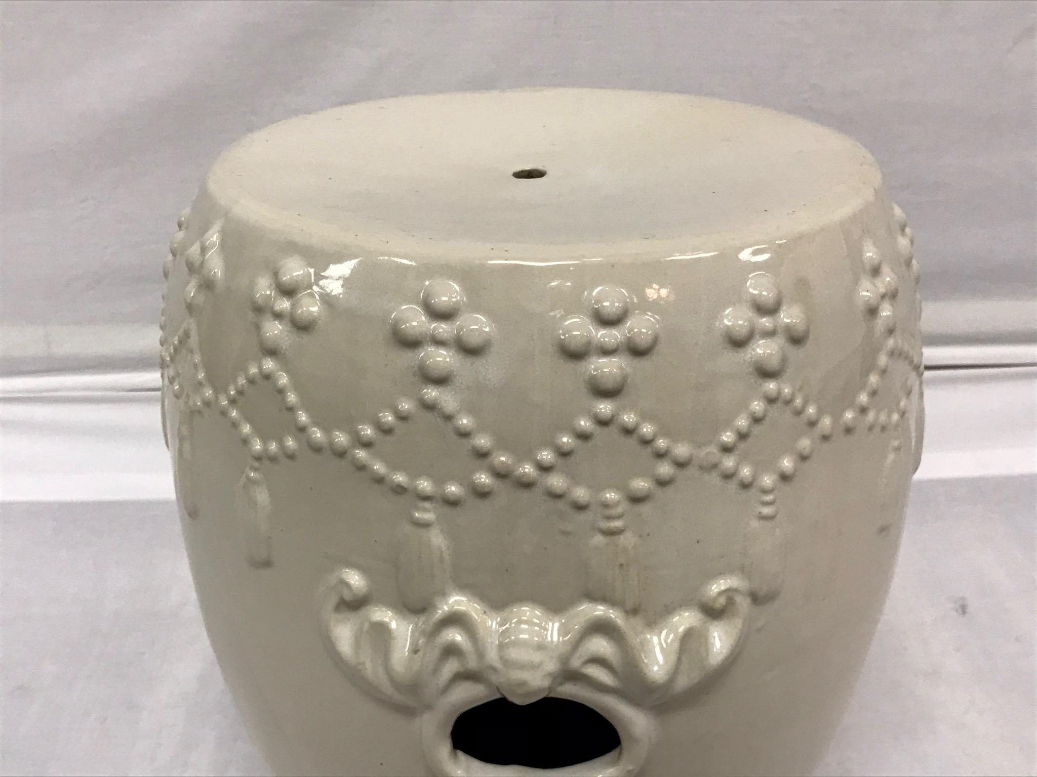 White Ceramic Asian Garden Stool   Image 7 Of 10