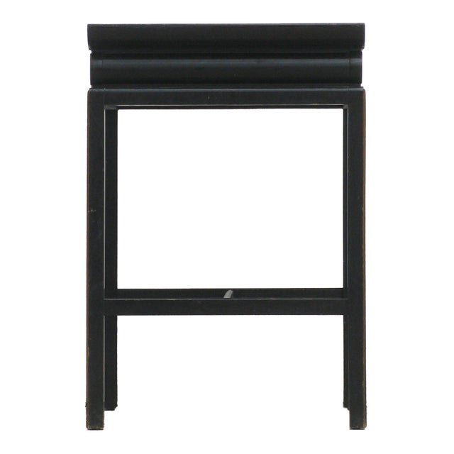 Chinoiserie Black Lacquer Accent Table For Sale - Image 4 of 6