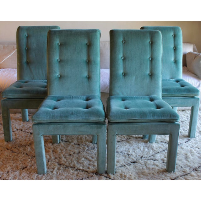 1970s Mid Century Modern Tufted Teal Green Velvet Parsons Dining Chairs Milo Baughman Style - Set of 4 For Sale - Image 13 of 13