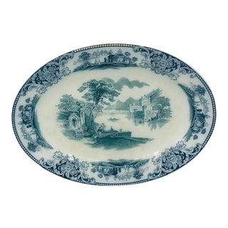 Antique Oval Pottery Platter in Shanghai Pattern For Sale