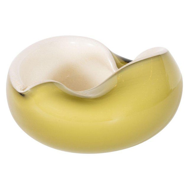 Mid-Century Modern Handblown Murano Moss and Pearlescent Glass Bowl For Sale - Image 4 of 6