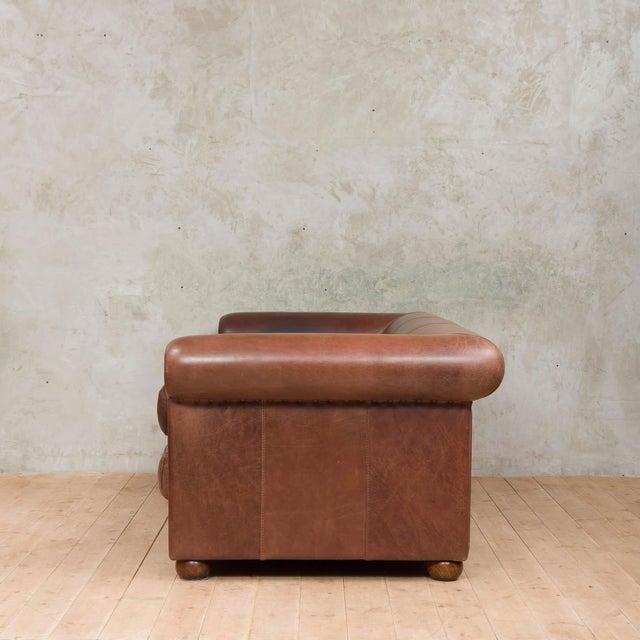 Mid-Century Modern Mid-Century Baxter Buffalo Leather Italian Sofa For Sale - Image 3 of 12