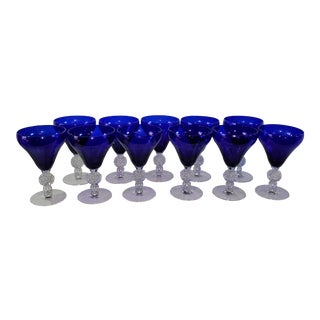 Cobalt Blue and Clear Crystal Water or Wine Stems - Set of 10 For Sale