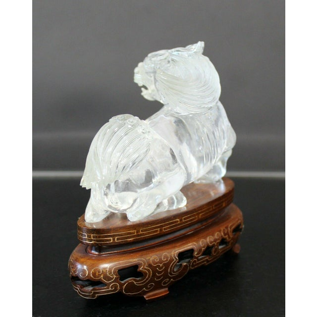 Transparent Chinese Rock Crystal Glass Fu Dog Statuette Wood Base Table Sculpture For Sale - Image 8 of 11