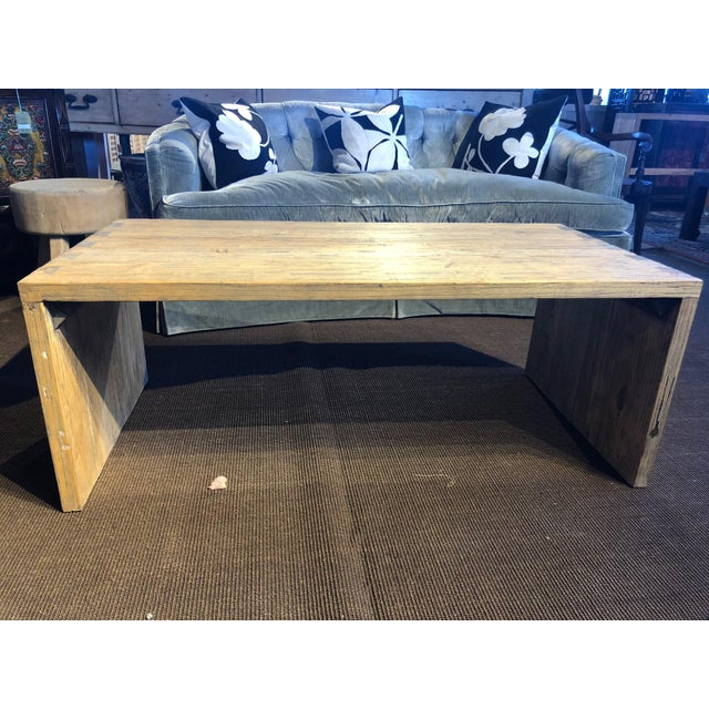 Washed Elm Wood Coffee Table For Sale - Image 4 of 7