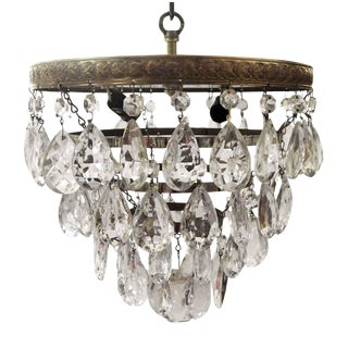 1930s Salvaged Waldorf Flush Mount Tear Drop Crystal Cake Light For Sale
