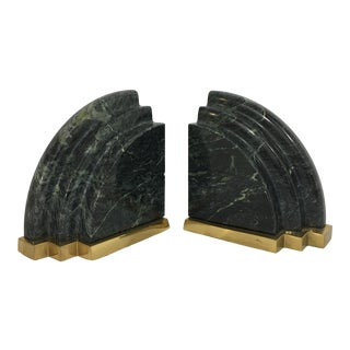 Sculptural Green Marble & Brass Bookends For Sale