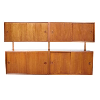 HG Furniture Danish Two-Cabinet Teak Floating Wall Unit For Sale