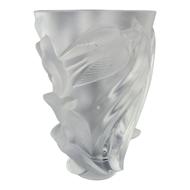 Lalique Art Glass Vase Martienet Birds In Flight Chairish