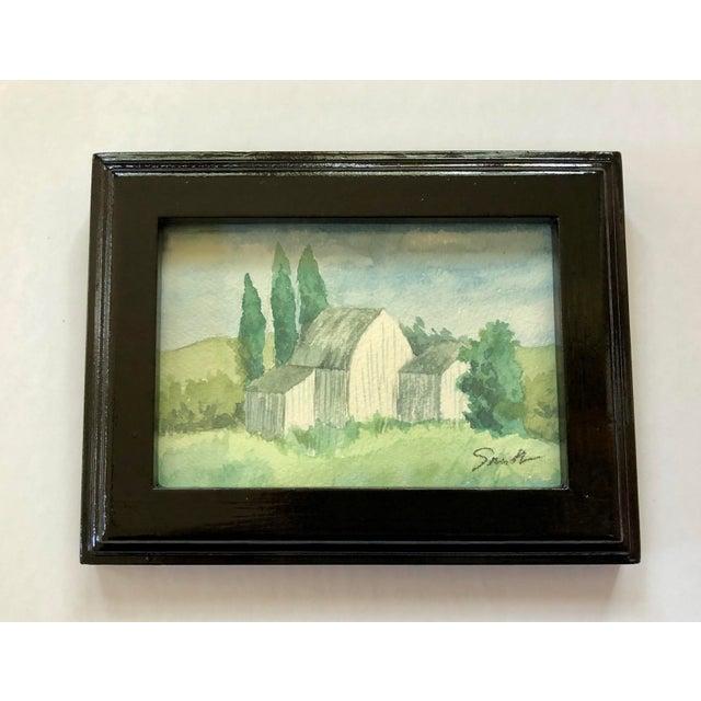 "Original Framed Watercolor Landscape ""Out Buildings"" For Sale - Image 4 of 4"