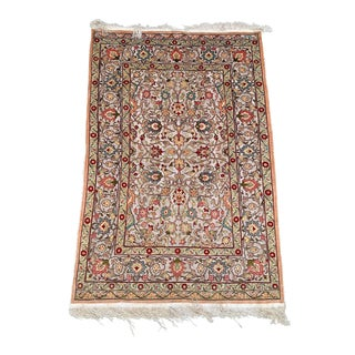 "Vintage ""Benji"" Metallic Silk Hereke Rug- 3′6″ × 5′2″ For Sale"