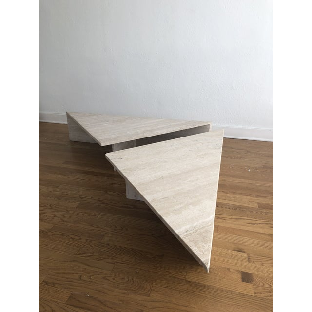 Stone Vintage Travertine Stone Triangle Coffee Table - 2 Pieces For Sale - Image 7 of 13